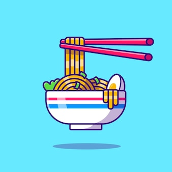Noodle egg with chopstick cartoon icon illustration.