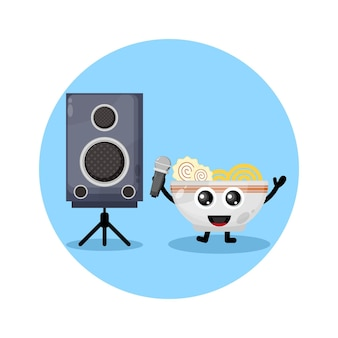 국수 노래방 귀여운 캐릭터 로고