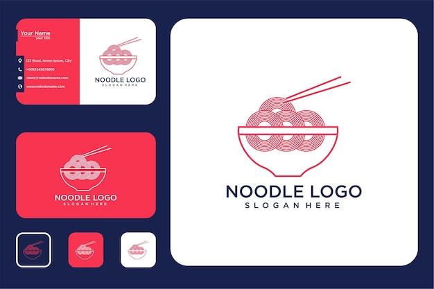 Noodle line art logo design and business card