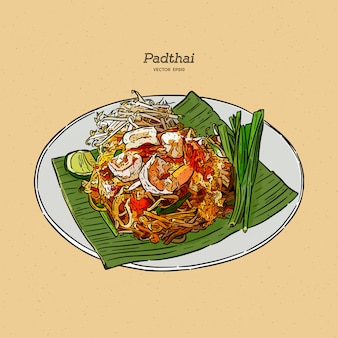 Noodle padthai food thailand in the dish. hand draw sketch .