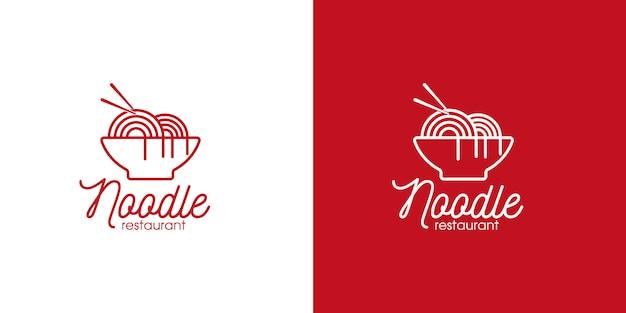 麺レストランと食品のロゴラインアートスタイルと名刺