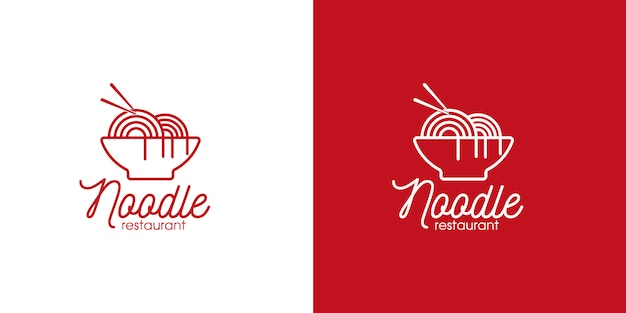Noodle restaurant and food logo line art style and business card