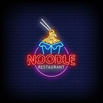 Noodle restaurant neon signs style text .