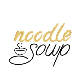 Noodle soup lettering design