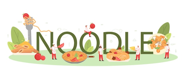 Noodle typographic header. italian food on the plate. delicious dinner, meat dish. mushroom, meatball, tomatoes ingredients.
