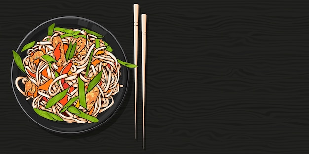 Noodles in a bowl and chopsticks on wood black table. top view  illustration.