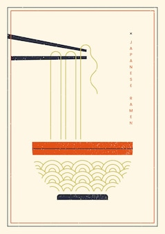 Noodles on chopsticks poster template