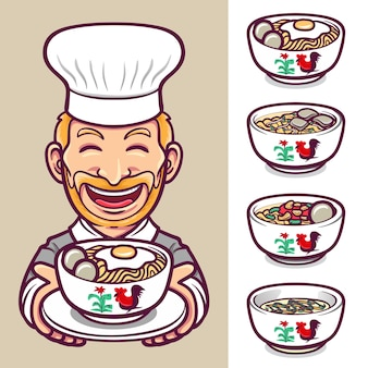 국수 음식 요리사 캐릭터 라벨 로고 세트 일러스트
