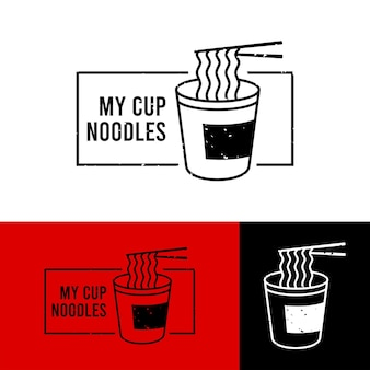 線画風に設定された麺のロゴ