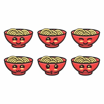 Noodles mascot with different expressions