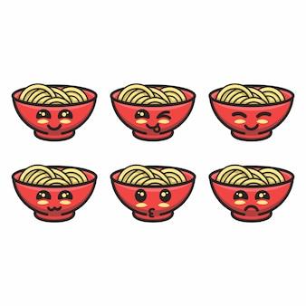 異なる表情の麺のマスコット