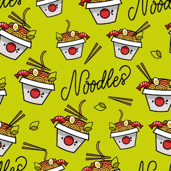 Noodles seamless pattern, ornament wit text. asian food