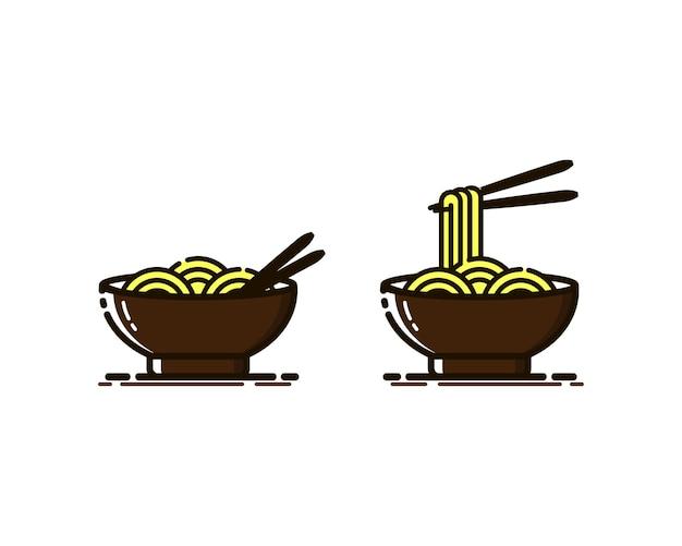 Векторная иллюстрация лапши с палочками для еды в стиле mbe.