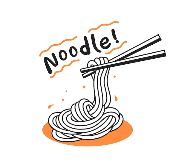 Noodles with chopsticks doodle illustration