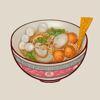 Nooodle soup with fish balls illustration