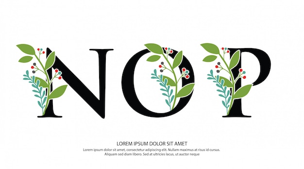 Начальная буква nop с цветочной формой