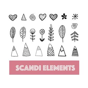 北欧の幾何学的なデザインベクトルシンプルな要素モダンなスカンジナビアスタイルの山の木