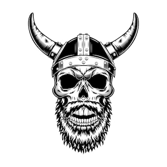 Nordic knight skull in horned helmet vector illustration. monochrome head of scandinavian warrior, viking with beard