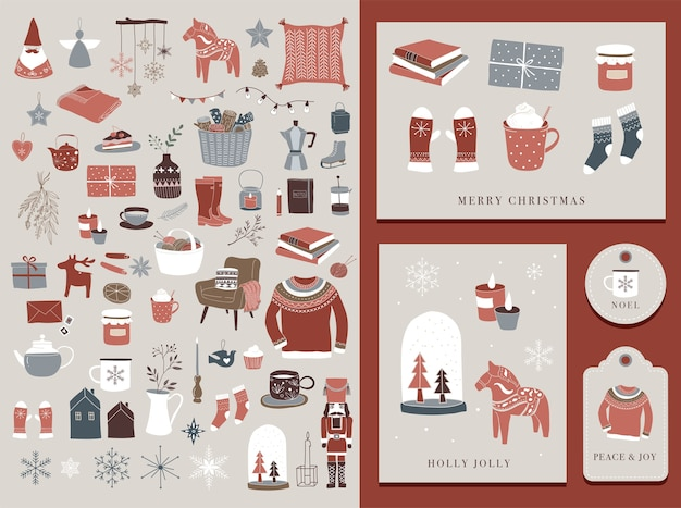 Nordic, scandinavian winter elements and hygge concept design, merry christmas card, label and tag.