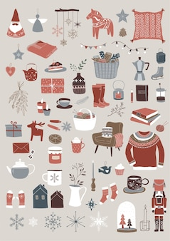 Nordic, scandinavian winter elements and hygge concept design, merry christmas set