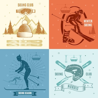 Nordic skiing retro style illustrations