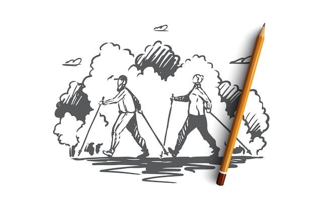Скандинавская ходьба, спорт, концепция активного образа жизни. мужчина и женщина вместе практикуют скандинавскую ходьбу в парке. нарисованная рукой иллюстрация эскиза