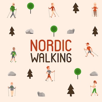 Nordic walking sport people leisure sport time active nordwalk man and woman summer exercise. outdoor fitness healthy active characters.