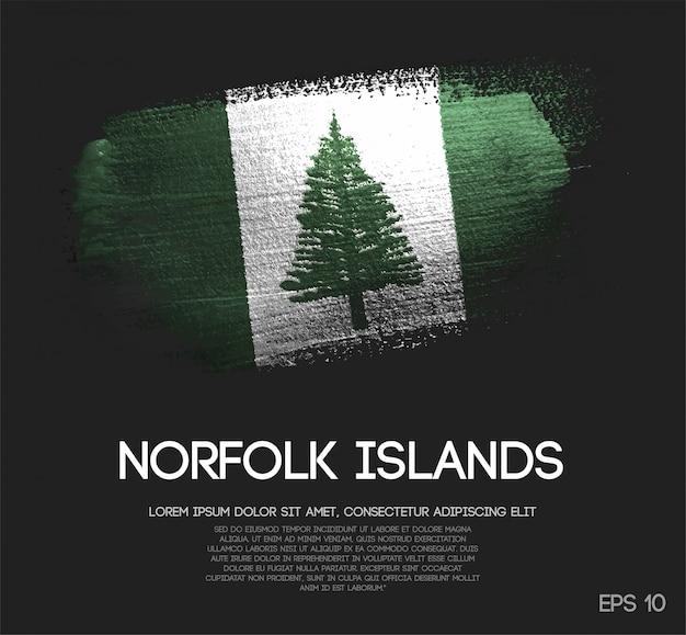 Norfolk island flag made of glitter sparkle brush paint