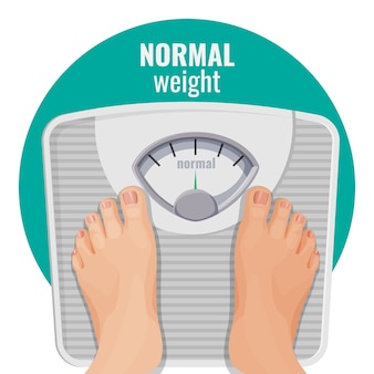 Normal weight human feet on scales isolated on white. person with ideal body standing on weighing machine   of woman legs, toes with manicure Premium Vector