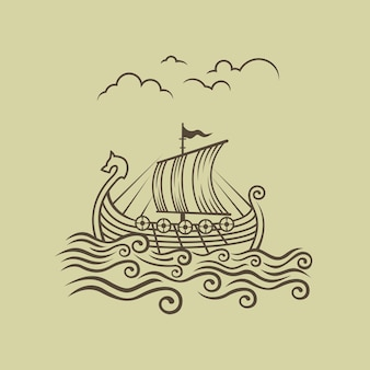 ノルマン人ドラッカー。バイキング輸送船。ベクトルイラスト。