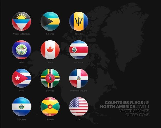 北米諸国の旗丸い光沢のあるアイコンセット