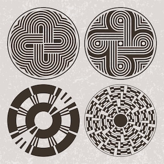 North america indians art tattoo and print set