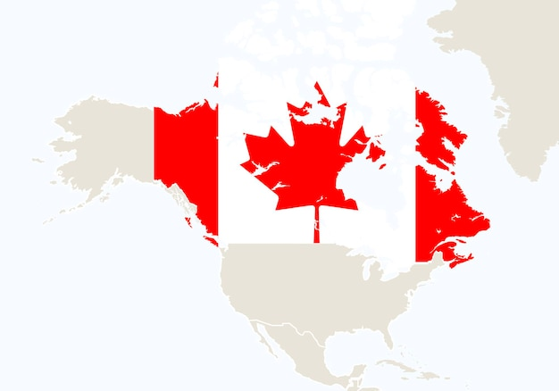 North america with highlighted canada map. vector illustration.