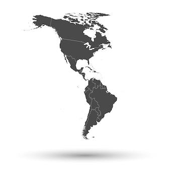 북미 및 남미 지역지도 배경 벡터