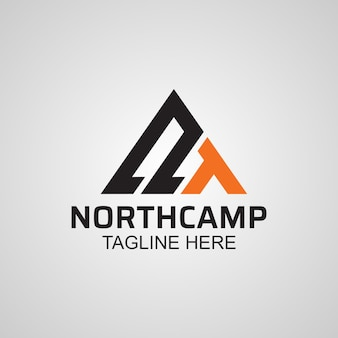 North camp adventure logo, abstract letter n and a icon design