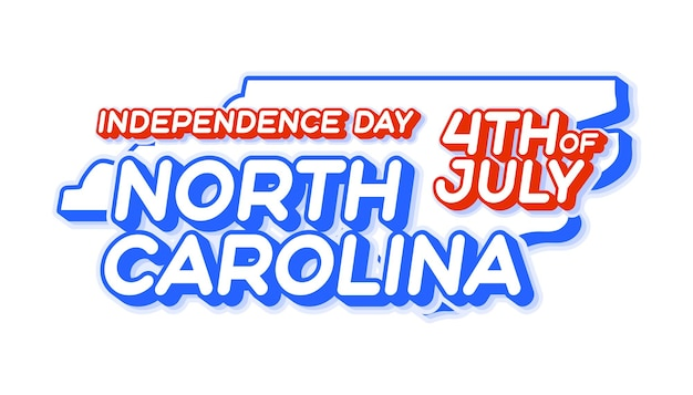 North carolina state 4th of july independence day with map and usa national color 3d shape of us