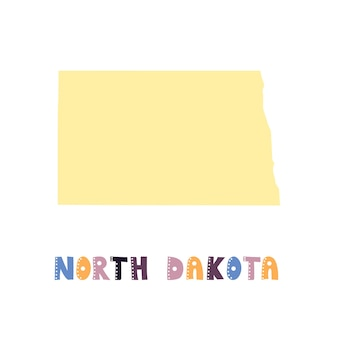 North dakota map isolated. usa collection. map of north dakota - yellow silhouette. doodling style lettering on white