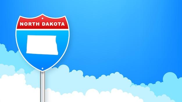 도 표지판에 노스 다코타 지도입니다. 노스다코타주에 오신 것을 환영합니다. 벡터 일러스트 레이 션.