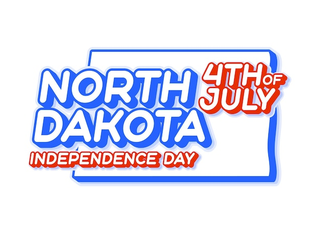 North dakota state 4th of july independence day with map and usa national color 3d shape of us