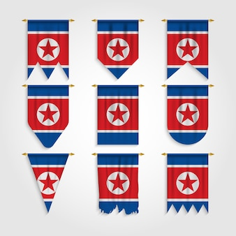 North korea flag in different shapes, flag of north korea in various shapes