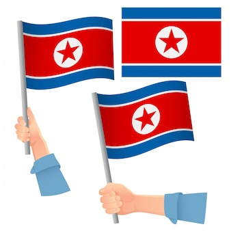 North korea flag in hand set