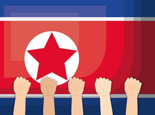 North korea flag and hands up