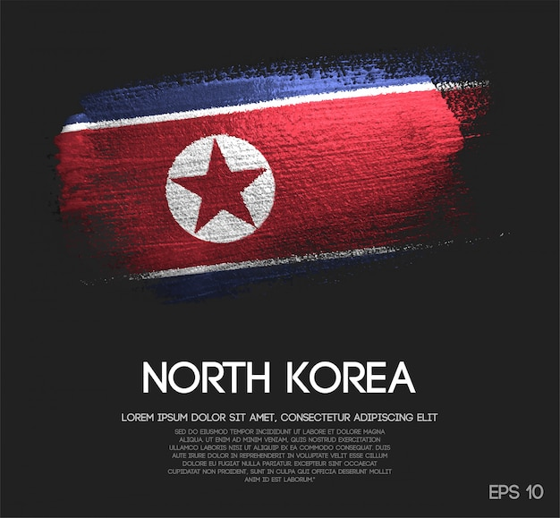 North korea flag made of glitter sparkle brush paint