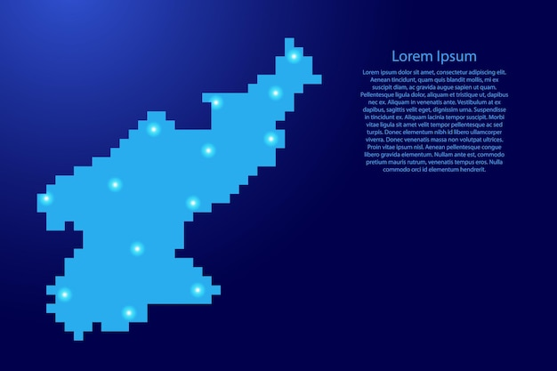 North korea map silhouette from blue square pixels and glowing stars. vector illustration.