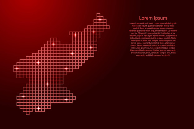 North korea map silhouette from red mosaic structure squares and glowing stars. vector illustration.