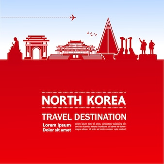 北朝鮮の旅行先のイラスト。