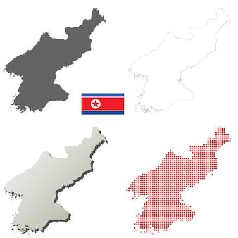 북한 벡터 개요지도 세트