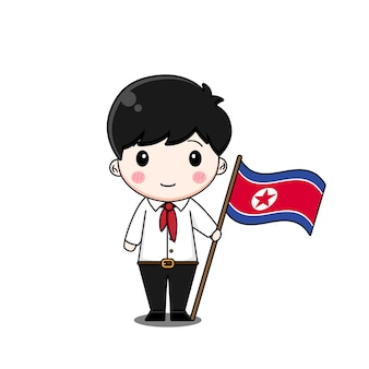North korean boy in national dress with flag