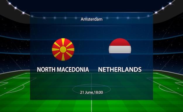 북 마케도니아 vs 네덜란드 축구 스코어 보드.