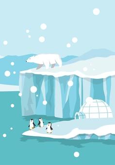 북극 북극. 바다에서 표류하고 녹는 빙하 위의 백곰과 펭귄